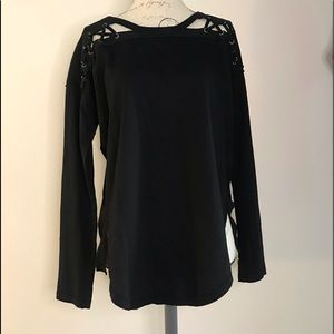 Black Lace Up See Through Shoulder Top